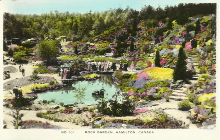 Vintage postcard of the Rock Garden, RBG, Hamilton, Ontario